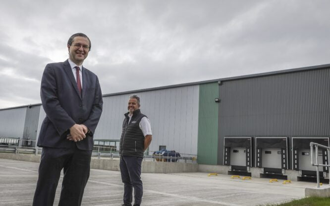 Cllr Simon Henig, Leader of Durham County Council and Mike Hall, DC Manager Sumitomo Electric Wiring Systems Europe outside of Sumitomo's new 50,000 sq ft unit at Jade Business Park.