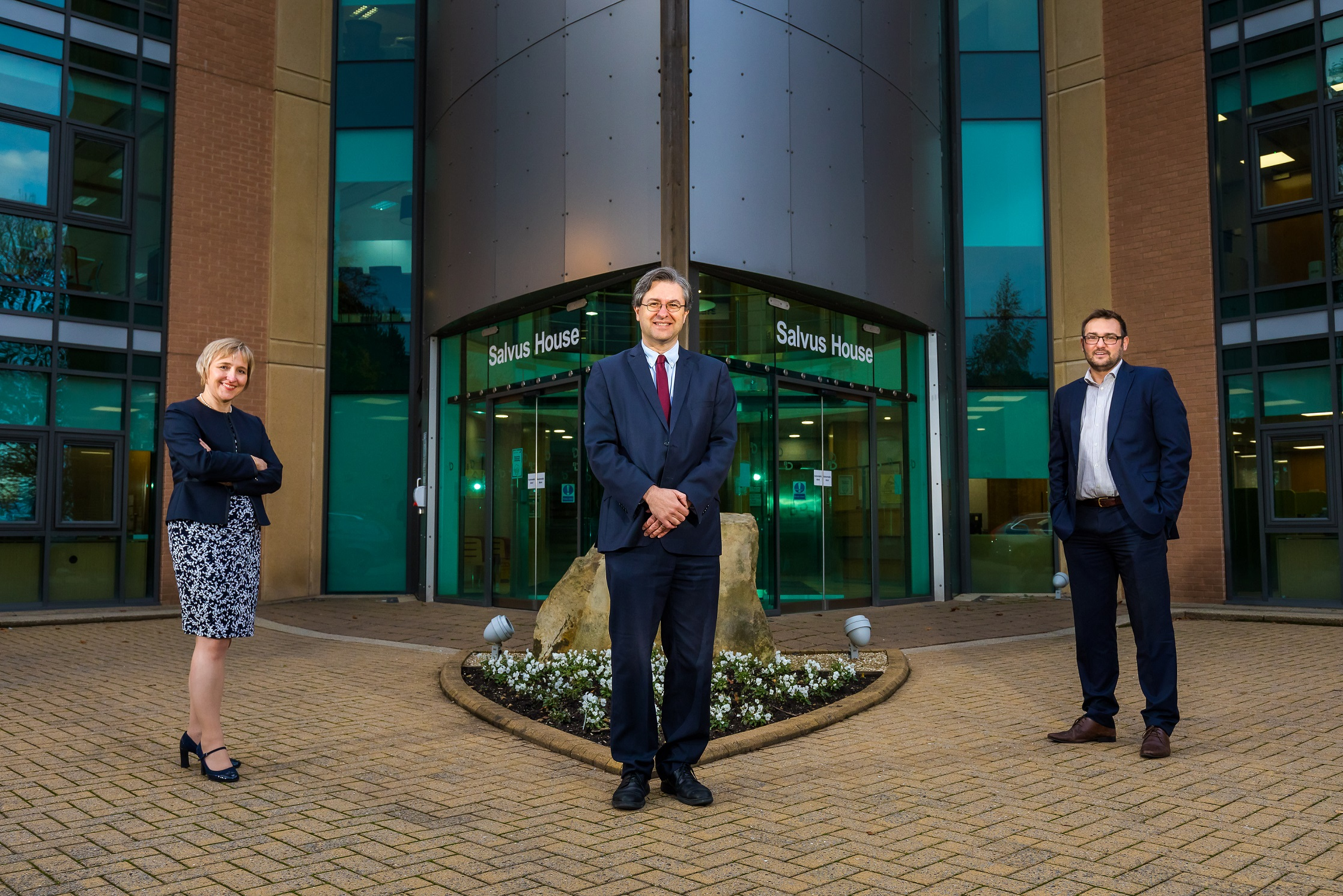 L/R - Sarah Salven (MD of Business Durham), Cllr Simon Henig (Chief Executive of Durham County Council) and Cllr Carl Marshall at Salvus House, Durham.